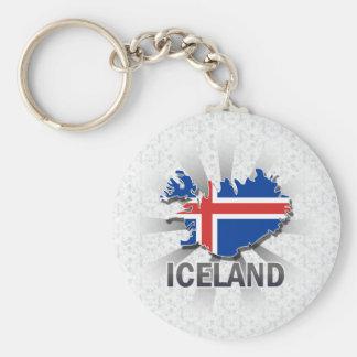 アイスランドの旗の地図2.0 キーホルダー