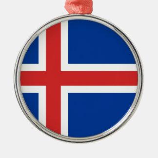 アイスランドの旗 シルバーカラー丸型オーナメント