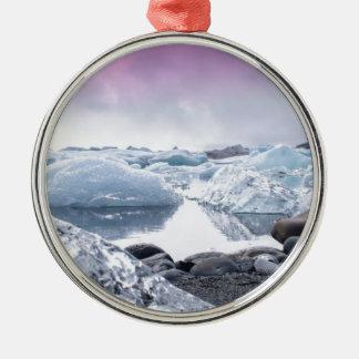 アイスランドの氷河礁湖 メタルオーナメント