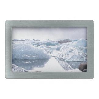 アイスランドの氷河礁湖 長方形ベルトバックル