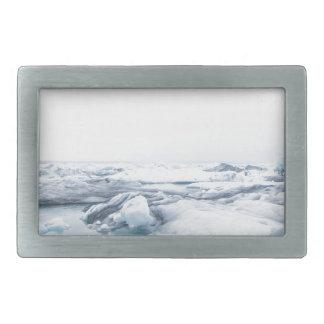 アイスランドの氷河-白 長方形ベルトバックル