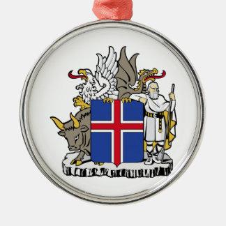 アイスランドの紋章付き外衣 シルバーカラー丸型オーナメント
