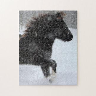 アイスランドの馬のシルエットのパズル ジグソーパズル