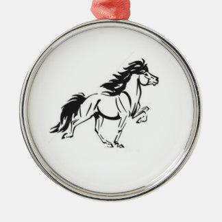 アイスランドの馬 シルバーカラー丸型オーナメント