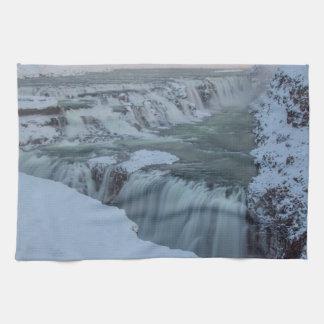 アイスランドのGullfossの滝 キッチンタオル