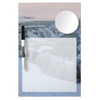 アイスランドのGullfossの滝 ミラー付きホワイトボード