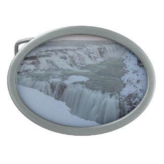 アイスランドのGullfossの滝 卵形バックル