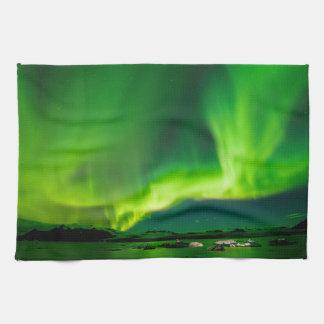 アイスランドのNorthern Lights キッチンタオル