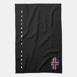 アイスランドのtouchの指紋の旗 キッチンタオル