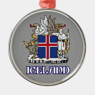 アイスランド-または記号シールか紋章または紋章または紋章付き外衣 シルバーカラー丸型オーナメント