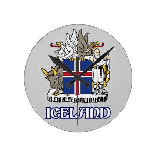 アイスランド-または記号シールか紋章または紋章または紋章付き外衣 ラウンド壁時計