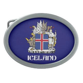 アイスランド-または記号シールか紋章または紋章または紋章付き外衣 卵形バックル