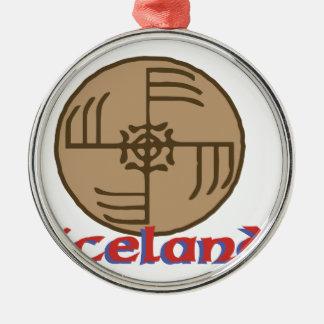 アイスランド シルバーカラー丸型オーナメント