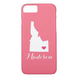 アイダホのハートのピンクのカスタムのモノグラム iPhone 8/7ケース