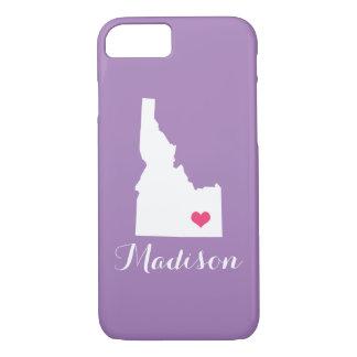 アイダホのハートの薄紫のカスタムのモノグラム iPhone 8/7ケース