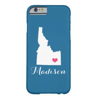 アイダホのハートの青くカスタムなモノグラム BARELY THERE iPhone 6 ケース