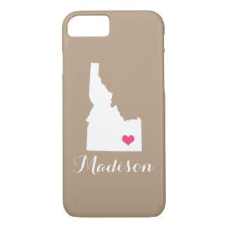 アイダホのハートモカブラウンのカスタムのモノグラム iPhone 8/7ケース
