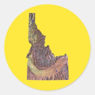 アイダホの地図のステッカー ラウンドシール