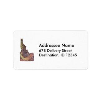 アイダホの地図の宛名ラベル ラベル