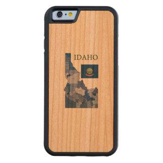 アイダホの旗そして地図 CarvedチェリーiPhone 6バンパーケース