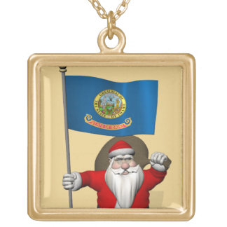 アイダホの旗を持つサンタクロース ゴールドプレートネックレス