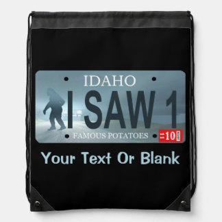 """アイダホ""""私は1つをサスカッチのナンバープレート見ました ナップサック"""