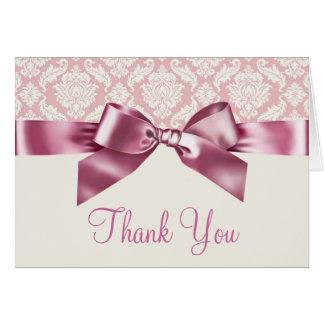 アイボリーおよびピンクのダマスク織のサンキューカード カード