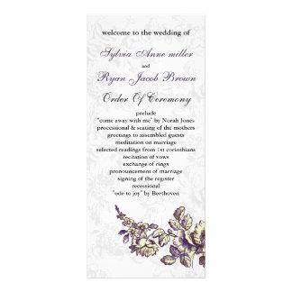 アイボリーおよび紫色のヴィンテージの花の結婚式 ラックカード