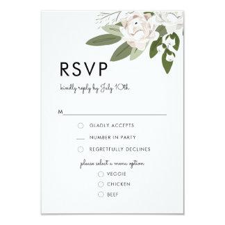アイボリーおよび赤面の結婚式の小枝、RSVPメニューカード カード