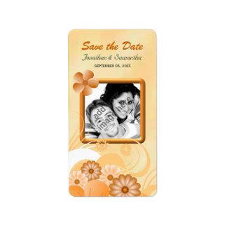 アイボリーおよび金ゴールドの花の写真は日付Lablesを救います 宛名ラベル