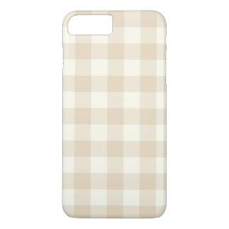 アイボリーのギンガムのiPhone 7のプラスの場合 iPhone 8 Plus/7 Plusケース