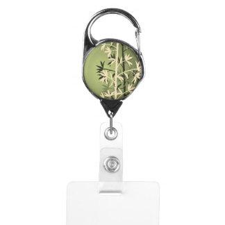 アイボリーのタケ緑 IDカードホルダー