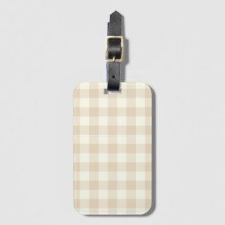 アイボリーのブラウンのギンガムの手荷物のラベル ラゲッジタグ