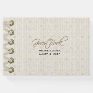 アイボリーのリネン一見のカスタムな結婚式の来客名簿 ゲストブック
