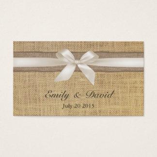 アイボリーのリボンのバーラップの結婚式のウェブサイトの挿入物カード 名刺