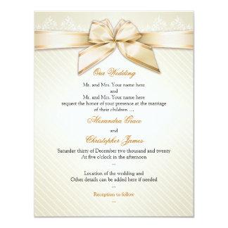 アイボリーのリボンの金ゴールドのストライプな結婚式招待状S1 カード