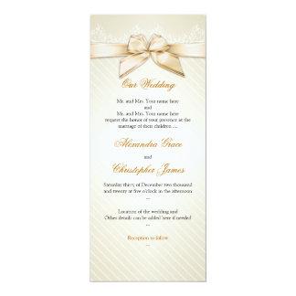 アイボリーのリボンの金ゴールドのストライプな結婚式招待状S4 カード
