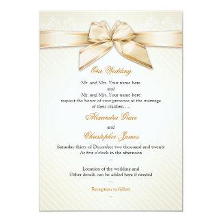 アイボリーのリボンの金ゴールドのストライプな結婚式招待状S5 カード