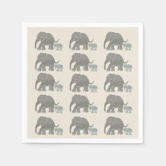 アイボリーの写実的な象のプリントのヴィンテージの灰色 スタンダードカクテルナプキン