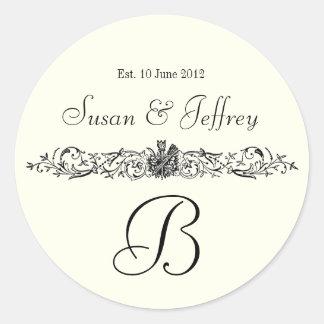 アイボリーの白いモノグラムのロゴは日付の結婚式のラベルを示します ラウンドシール