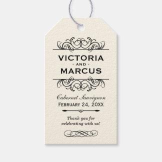 アイボリーの結婚式のワイン・ボトルのモノグラムのメッセージカード ギフトタグパック