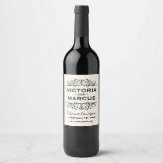 アイボリーの結婚式のワイン・ボトルの好意 ワインラベル