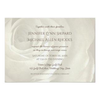 アイボリーの花のシンプルでエレガントな結婚式招待状 12.7 X 17.8 インビテーションカード
