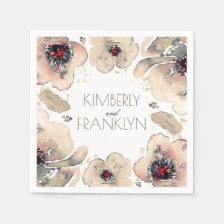 アイボリーの花の水彩画はBohoの結婚式に羽をつけます スタンダードカクテルナプキン