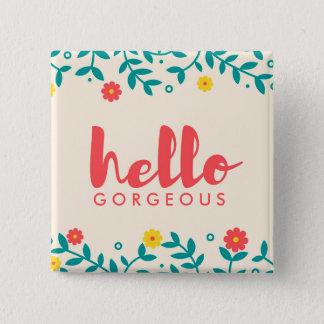 """アイボリーの花柄""""こんにちは豪華な""""ボタン 5.1CM 正方形バッジ"""