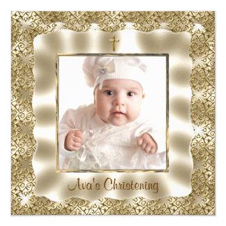 アイボリーの金ゴールドのレースのベビーの写真の洗礼の《キリスト教》洗礼式や命名式 カード