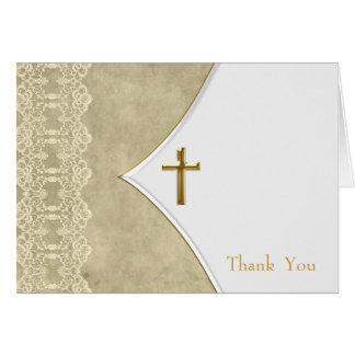 アイボリーの金ゴールドの十字の洗礼の《キリスト教》洗礼式や命名式は車感謝していしています カード