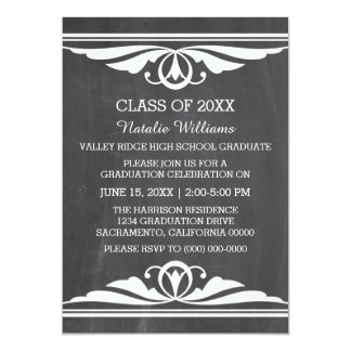 アイボリーのDecoの黒板の卒業の招待 カード
