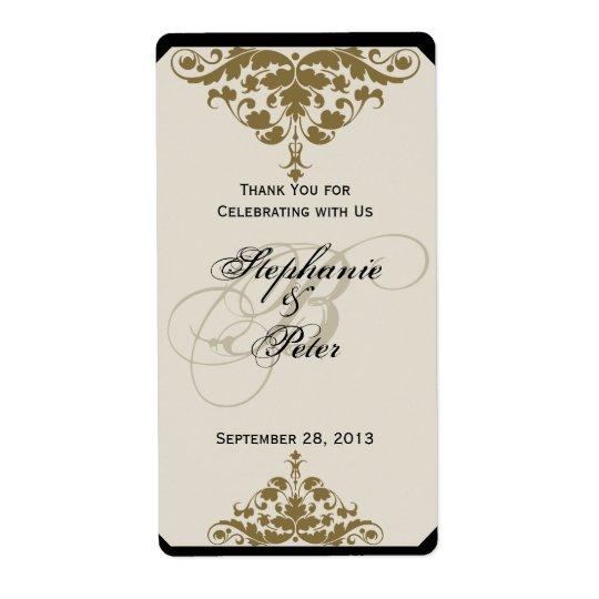 アイボリー・ブラックおよび金ゴールドのダマスク織の結婚式のワインのラベル ラベル