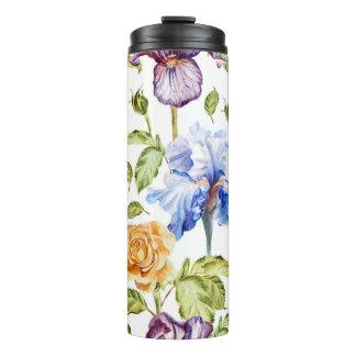 アイリスおよびバラの水彩画の花柄パターン タンブラー